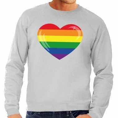 Gay pride regenboog hart sweater grijs heren
