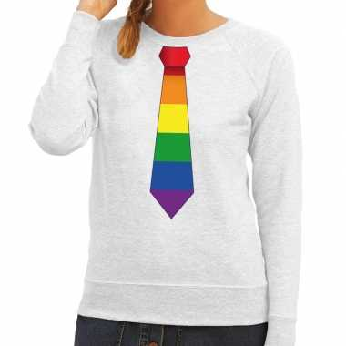 Gay pride regenboog stropdas sweater grijs dames