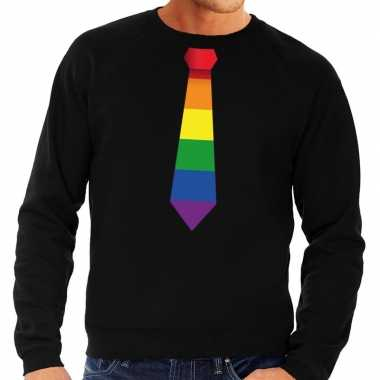 Gay pride regenboog stropdas sweater zwart heren