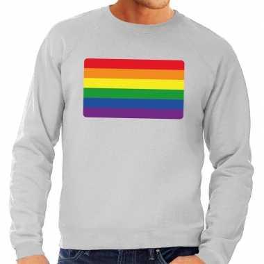 Gay pride regenboog vlag sweater grijs heren