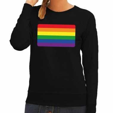 Gay pride regenboog vlag sweater zwart dames