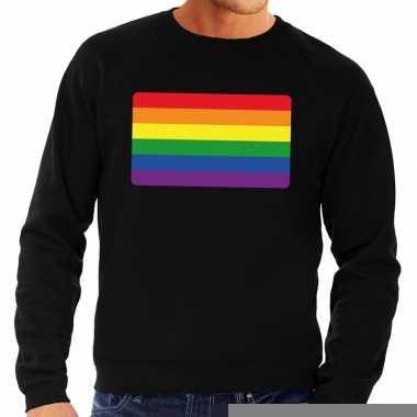 Gay pride regenboog vlag sweater zwart heren