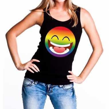 Gay pride smiley tanktop zwart dames