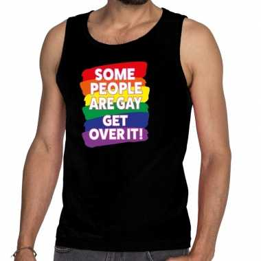 Gay pride some people are gay get over it tanktop zwart heren