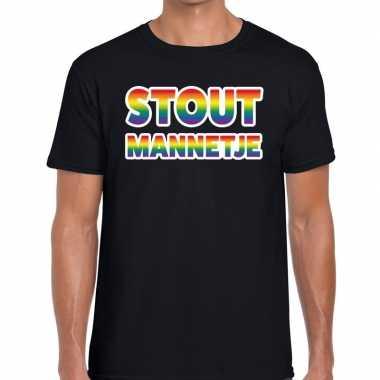 Gay pride stout mannetje shirt zwart heren