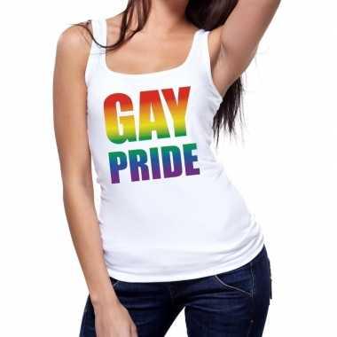 Gay pride tekst/fun tanktop shirt wit dames