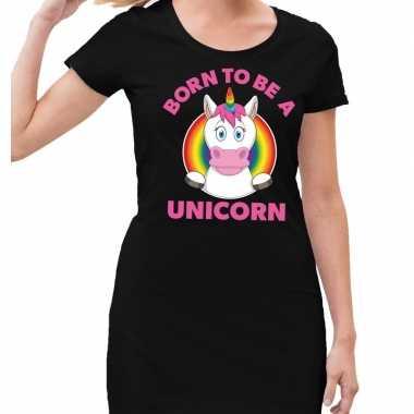 Gaypride born to be a unicorn jurkje zwart dames