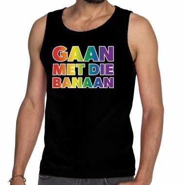 Gaypride gaan met die banaan rainbow tanktop zwart heren