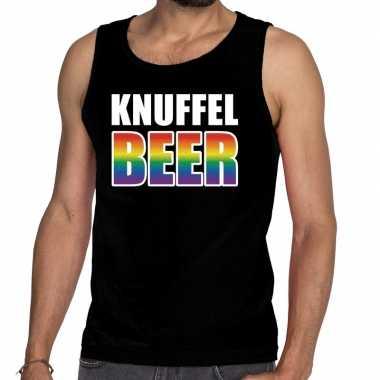 Gaypride knuffelbeer tekst/fun tanktop zwart heren