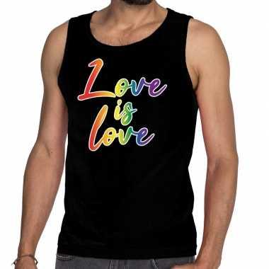 Gaypride love is love rainbow tanktop zwart heren