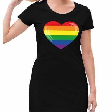 Gaypride regenboog hart jurkje zwart dames