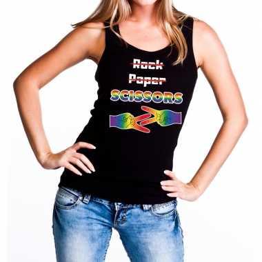 Gaypride rock paper scissors tanktop zwart dames