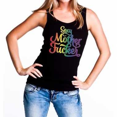 Gaypride sexy mother fucker rainbow tanktop zwart dames