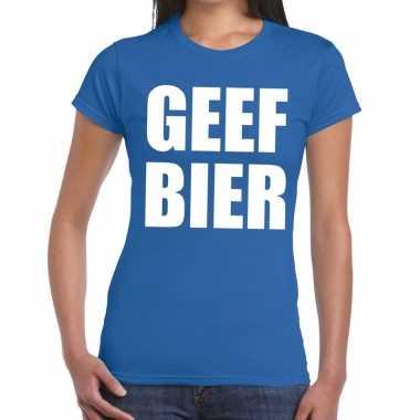 Geef bier fun t-shirt blauw voor dames