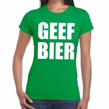 Geef bier fun t-shirt groen voor dames