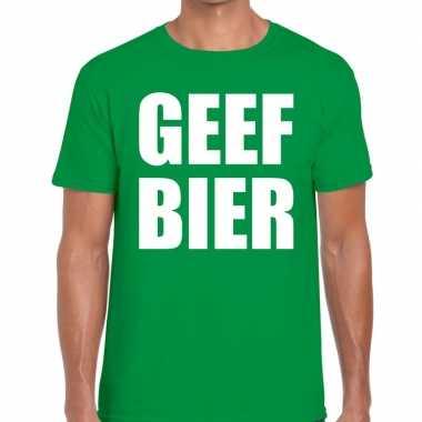 Geef bier fun t-shirt groen voor heren
