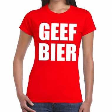 Geef bier fun t-shirt rood voor dames