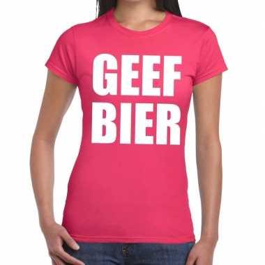 Geef bier fun t-shirt roze voor dames