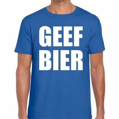 Geef bier fun t-shirt voor heren blauw