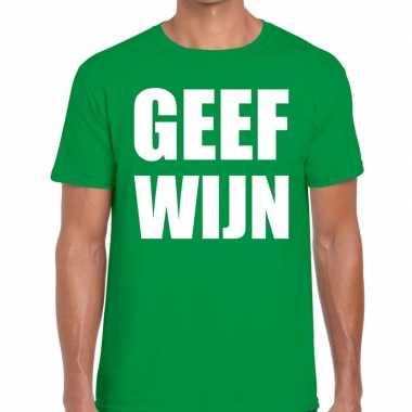 Geef wijn fun t-shirt groen voor heren