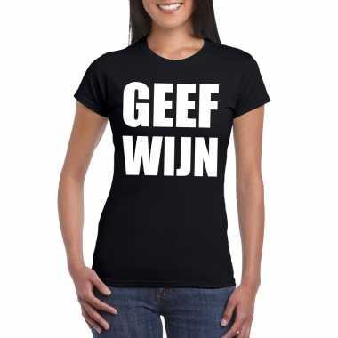 Geef wijn fun t-shirt voor dames zwart