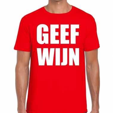 Geef wijn fun t-shirt voor heren rood