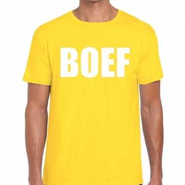 Geel boef fun t-shirt voor heren