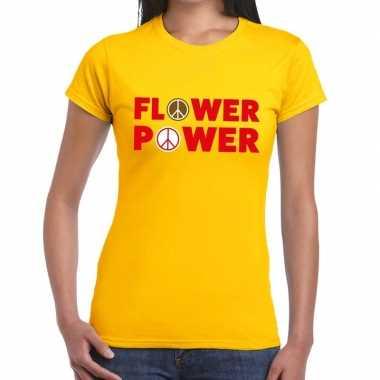 Geel flower power fun t-shirt voor dames