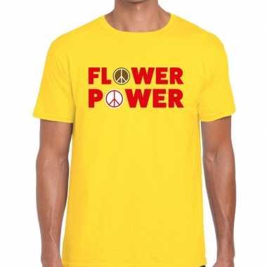 Geel flower power fun t-shirt voor heren