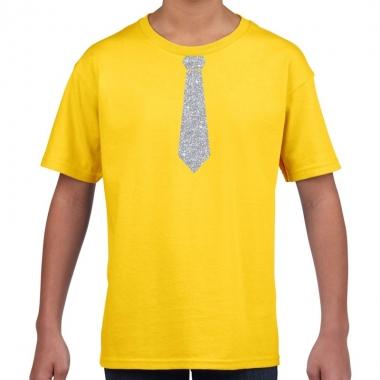 Geel t-shirt met zilveren stropdas voor kinderen
