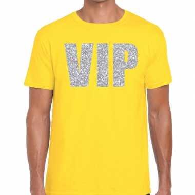 Geel vip zilver fun t-shirt voor heren
