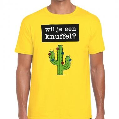 Geel wil je een knuffel fun t-shirt voor heren