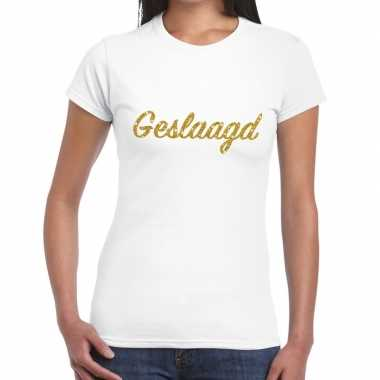 Geslaagd gouden letters fun t-shirt wit voor dames