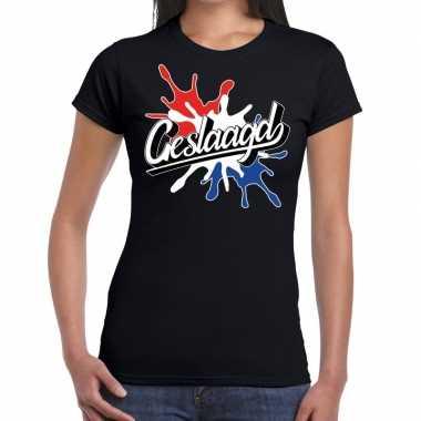 Geslaagd kado t-shirt met spetter effect zwart voor dames