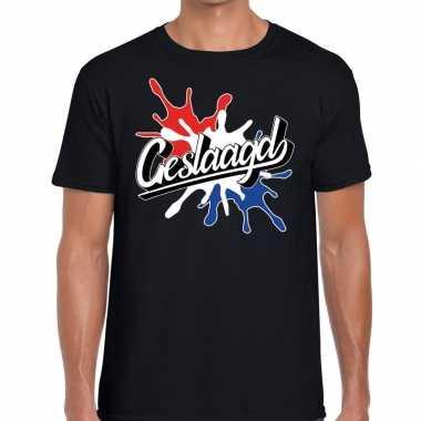 Geslaagd kado t-shirt met spetter effect zwart voor heren