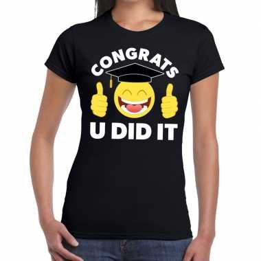 Geslaagd shirt congrats u did it zwart voor dames
