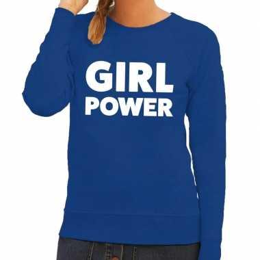Girl power fun sweater blauw voor dames