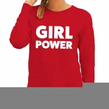 Girl power fun sweater rood voor dames