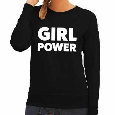 Girl power fun sweater zwart voor dames