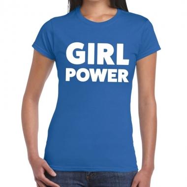 Girl power fun t-shirt blauw voor dames