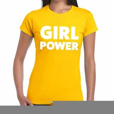 Girl power fun t-shirt geel voor dames