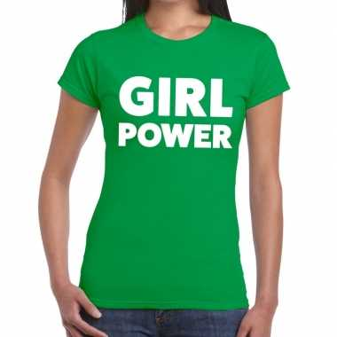Girl power fun t-shirt groen voor dames