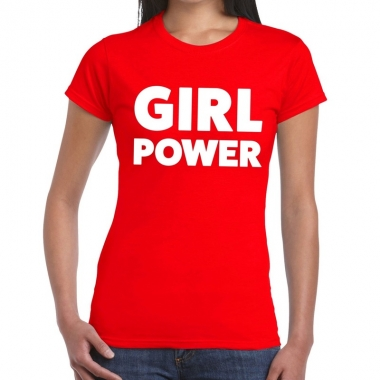 Girl power fun t-shirt rood voor dames