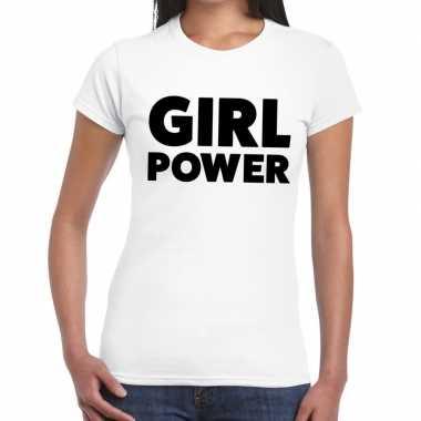 Girl power fun t-shirt voor dames wit