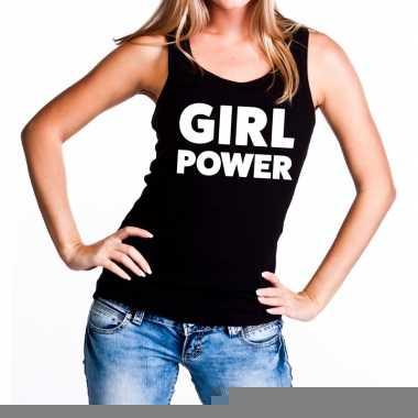 Girl power fun tanktop / mouwloos shirt zwart voor dames