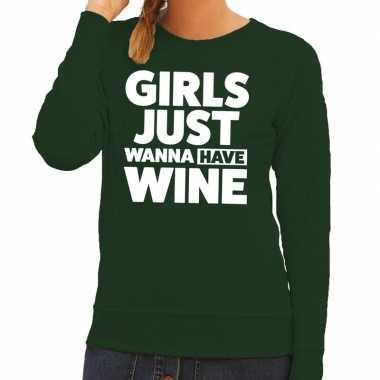 Girls just wanna have wine fun sweater groen voor dames
