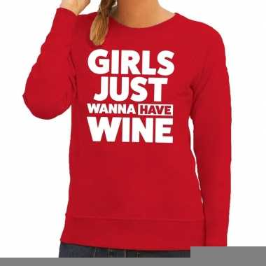 Girls just wanna have wine fun sweater rood voor dames