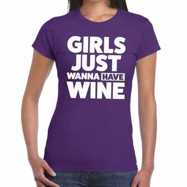 Girls just wanna have wine fun t-shirt paars voor dames