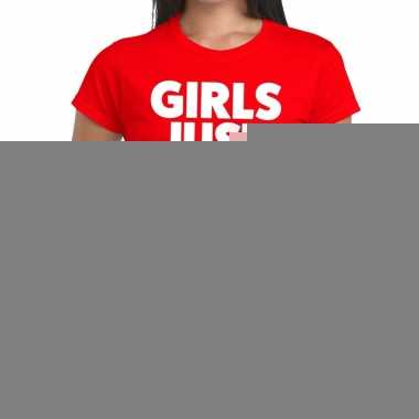 Girls just wanna have wine fun t-shirt rood voor dames