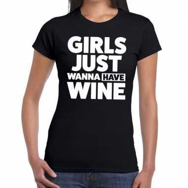 Girls just wanna have wine fun t-shirt zwart voor dames